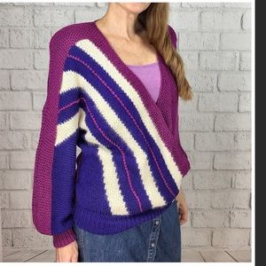 Vintage Nanell Wool/ Angora Faux Wrap Sweater lrg